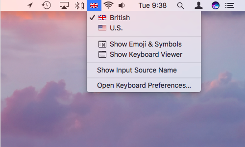 Mac menu bar extras keyboard