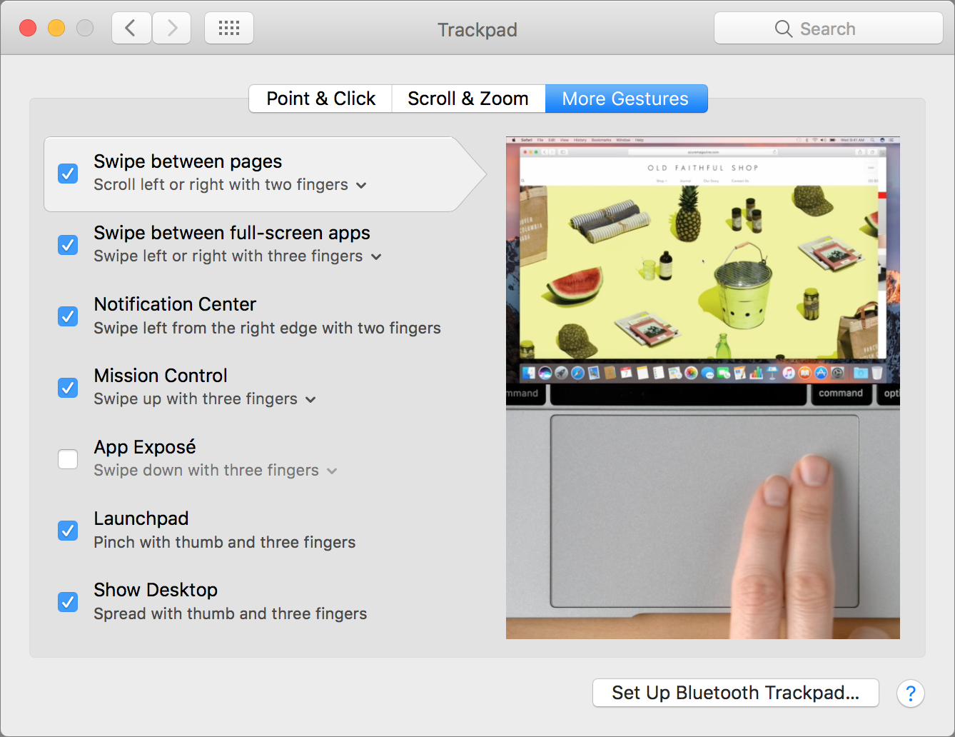 trackpad gestures setting