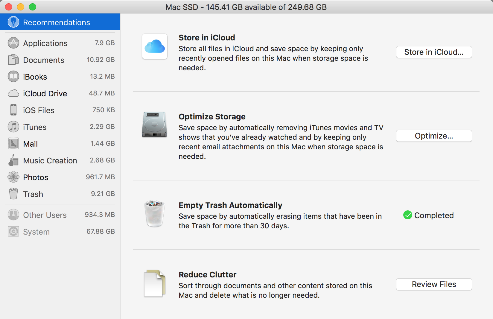 Optimize the storage on your Mac