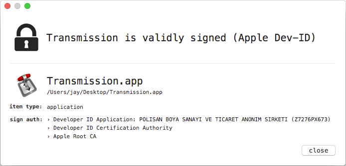 WhatsYourSign information of the malicious Transmission application