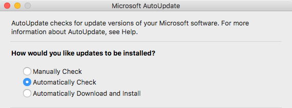 Automatically check for Office for Mac updates