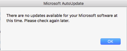 No Office for Mac updates available