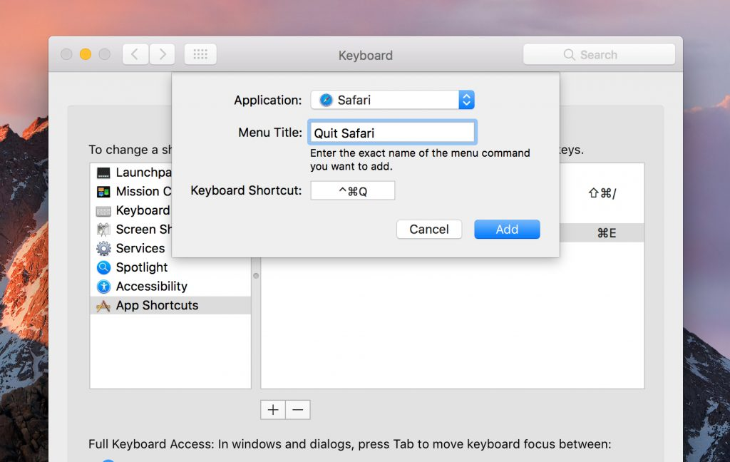 Override existing macOS keyboard shortcuts