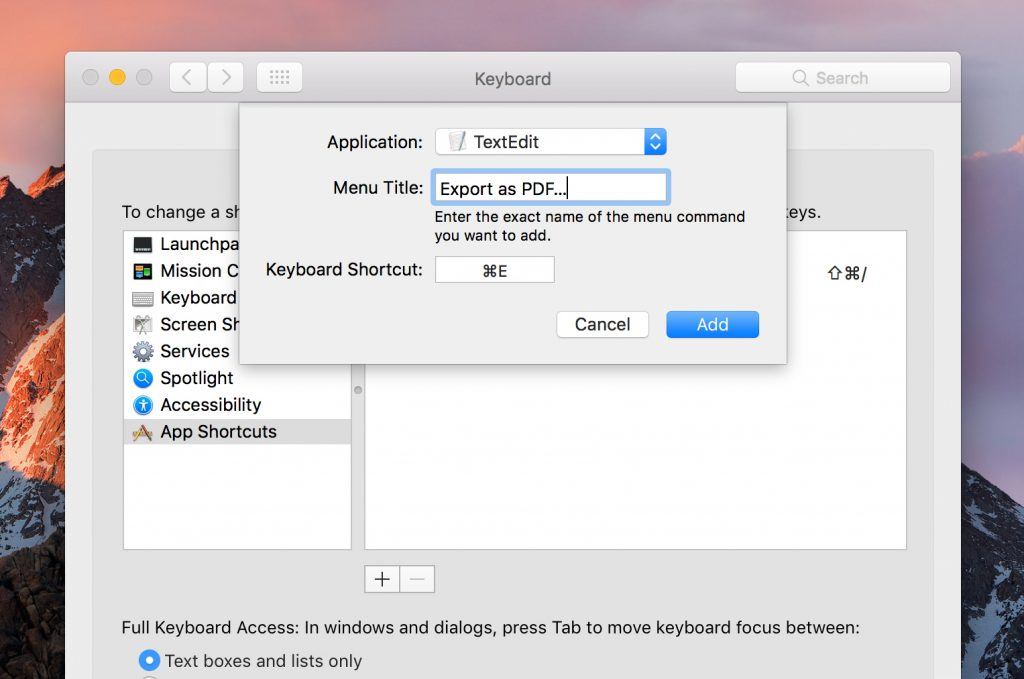 Create an app-specific custom keyboard shortcut