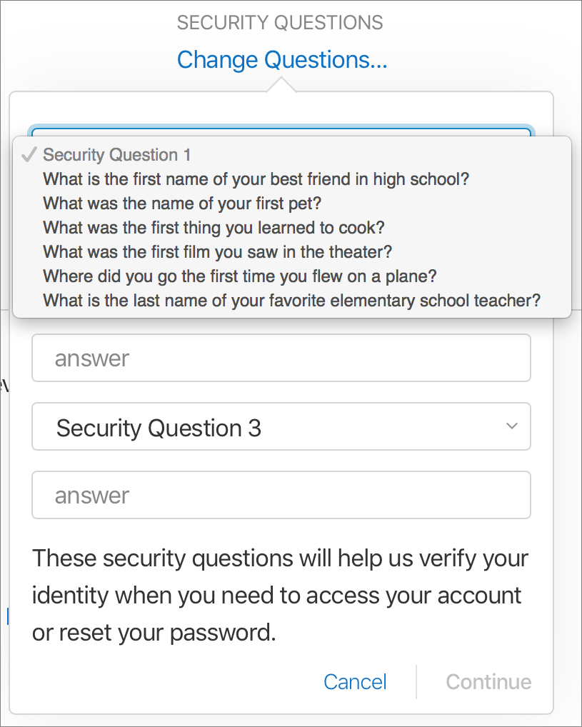 Apple Security Question Options
