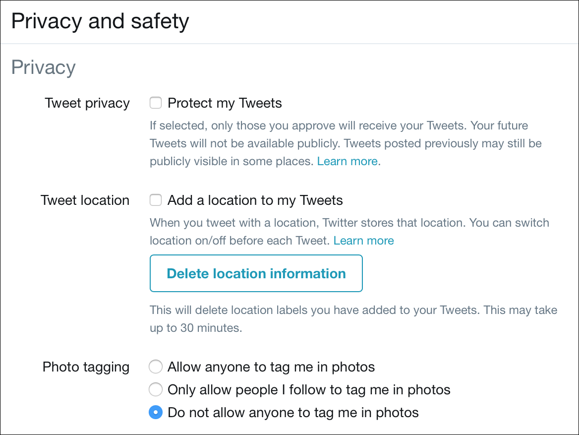 Twitter Privacy and safety