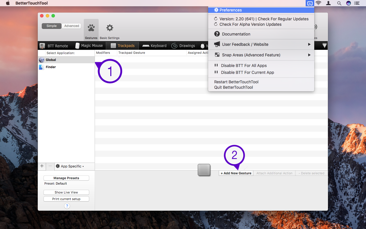 BetterTouchTool Menu Bar Preferences