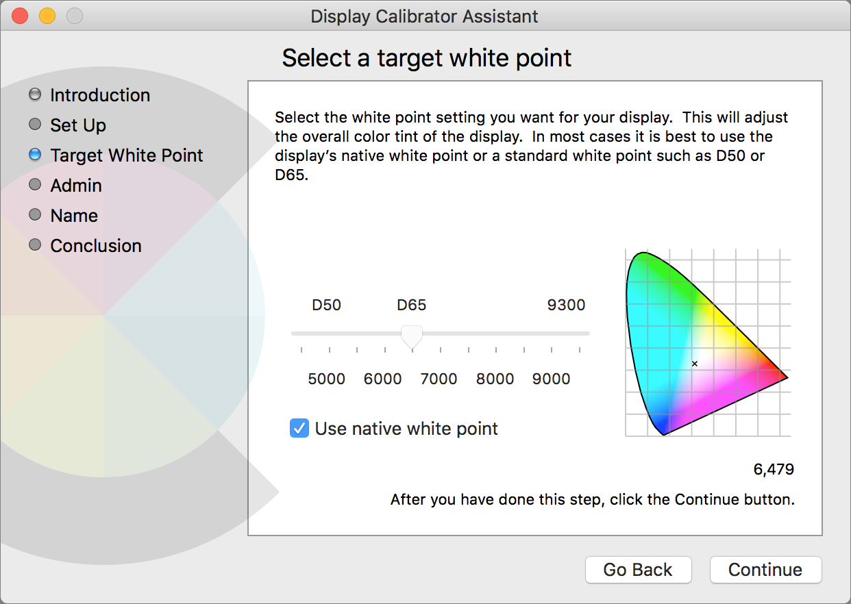 Display Calibrator Select a target white point