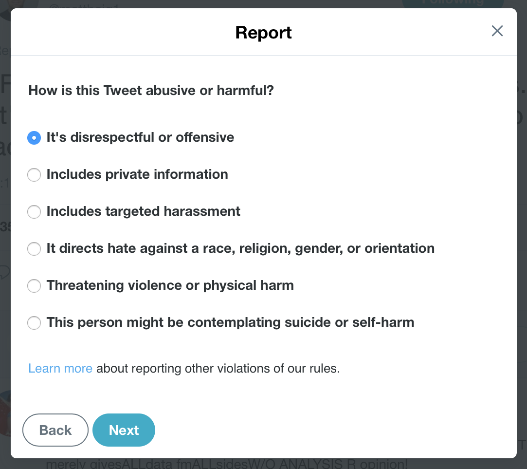 Harmful or abusive tweets