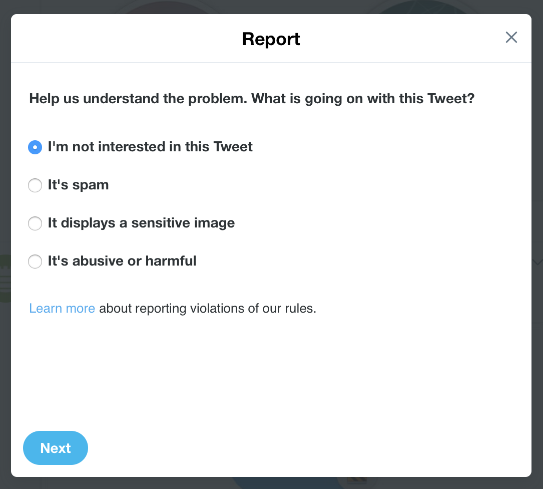 Report Tweet Options