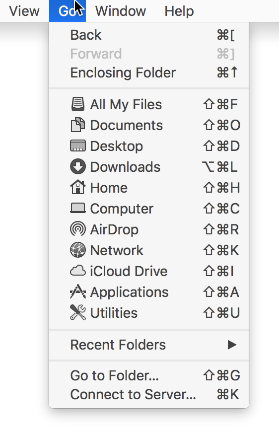 Finder Go menu