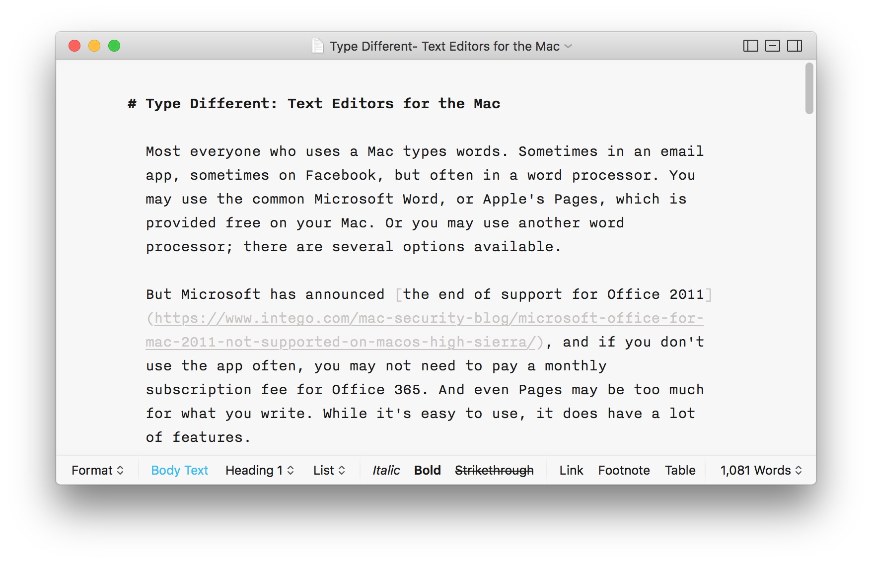 Type Different: Text Editors for the Mac | The Mac Security Blog