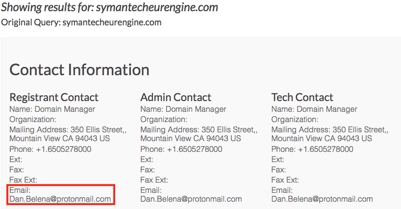 Fake Symantec blog registrant contact