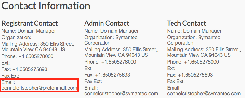 Fake Symantec blog email contact