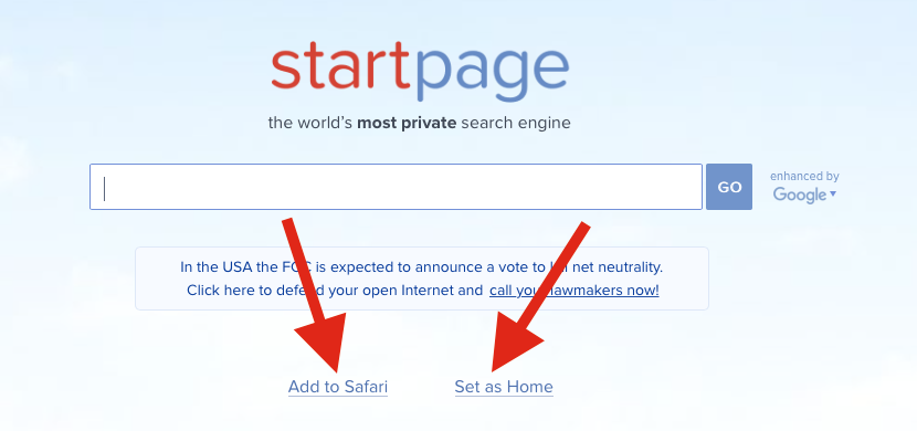 StartPage Add to Safari or Set as Home buttons