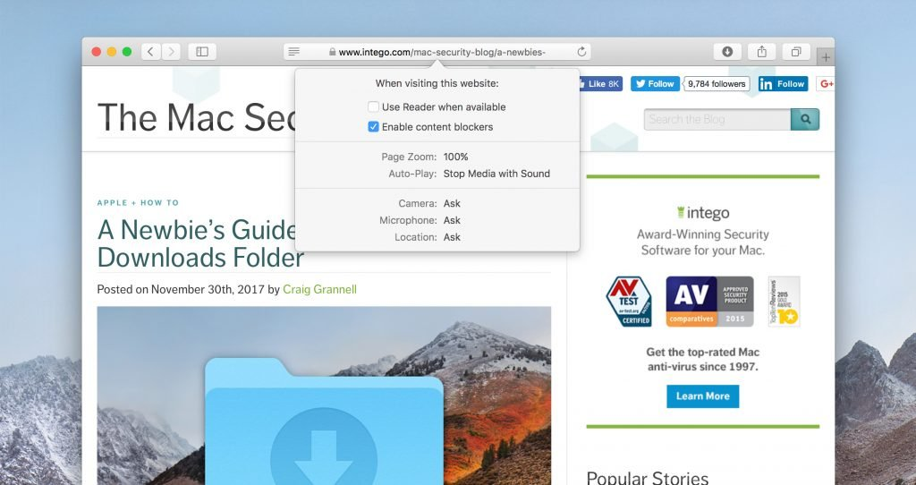 How to adjust individual website settings