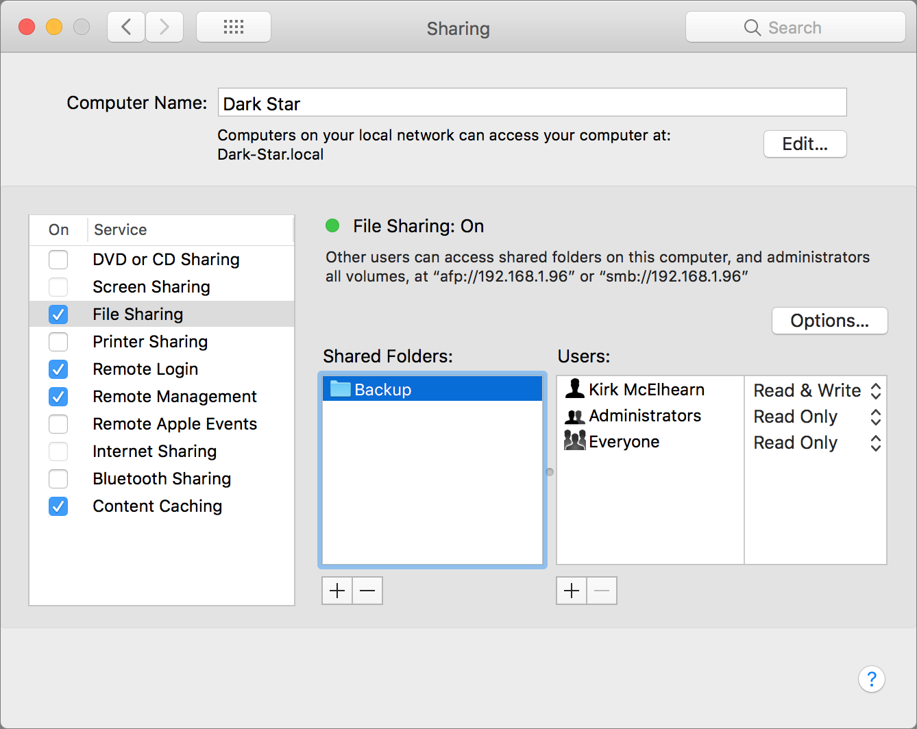 How to turn on File Sharing in macOS