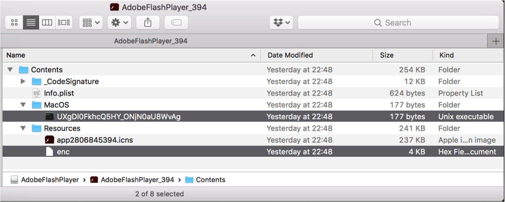 OSX/Shlayer uses double Shell scripts to drop the malicious fake Adobe Flash Player app
