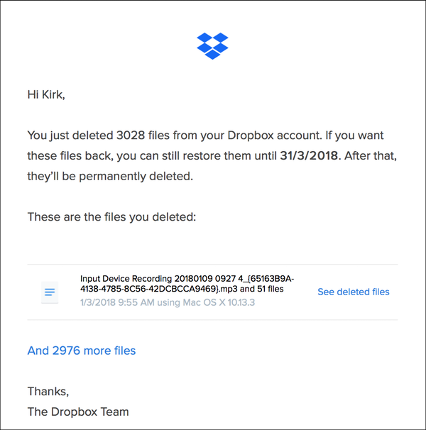Kirk's email from Dropbox