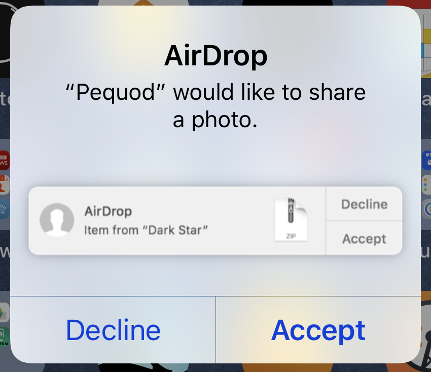 AirDrop notification on iOS