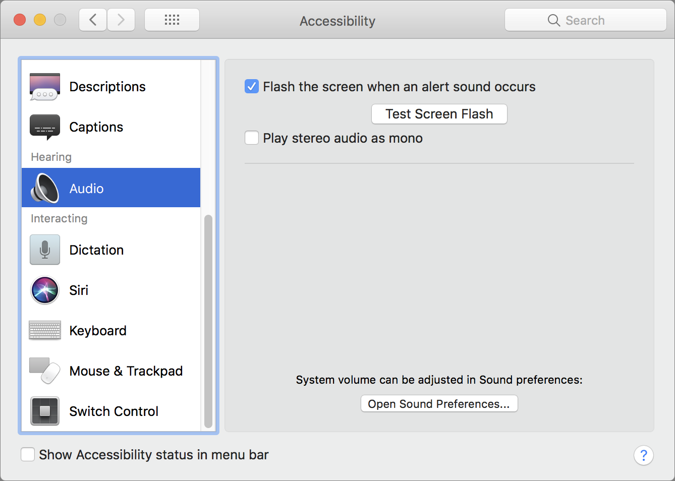 Accessibility Audio Options
