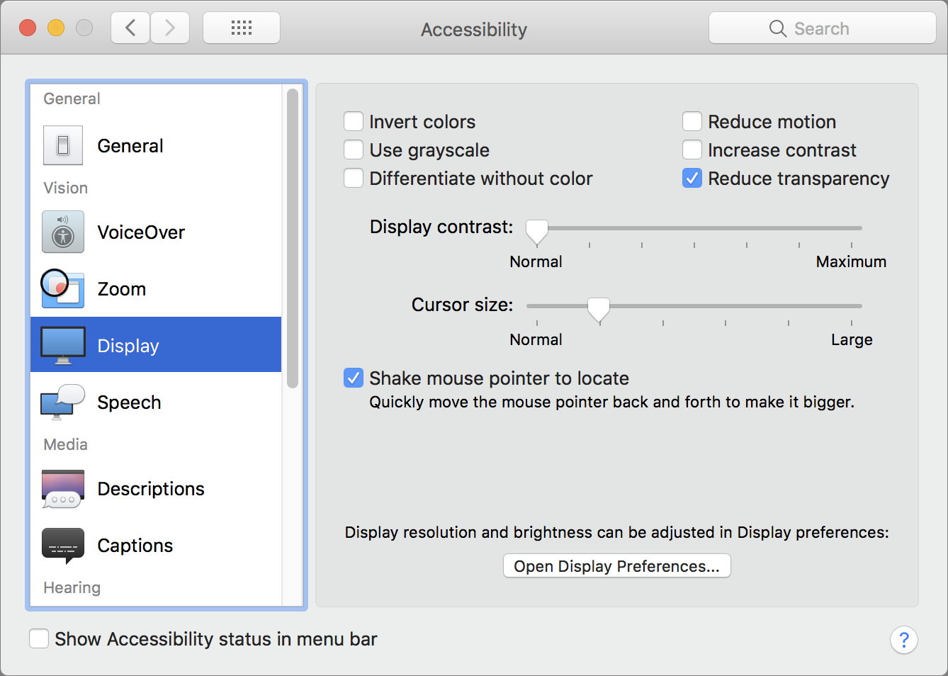 Browsing accessibility options