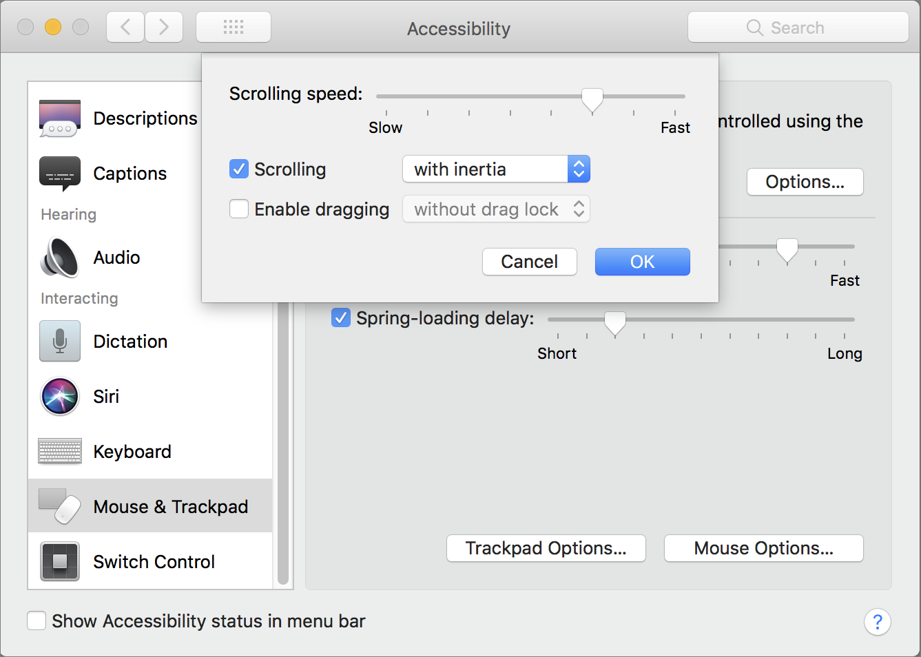 Accessibility input device options