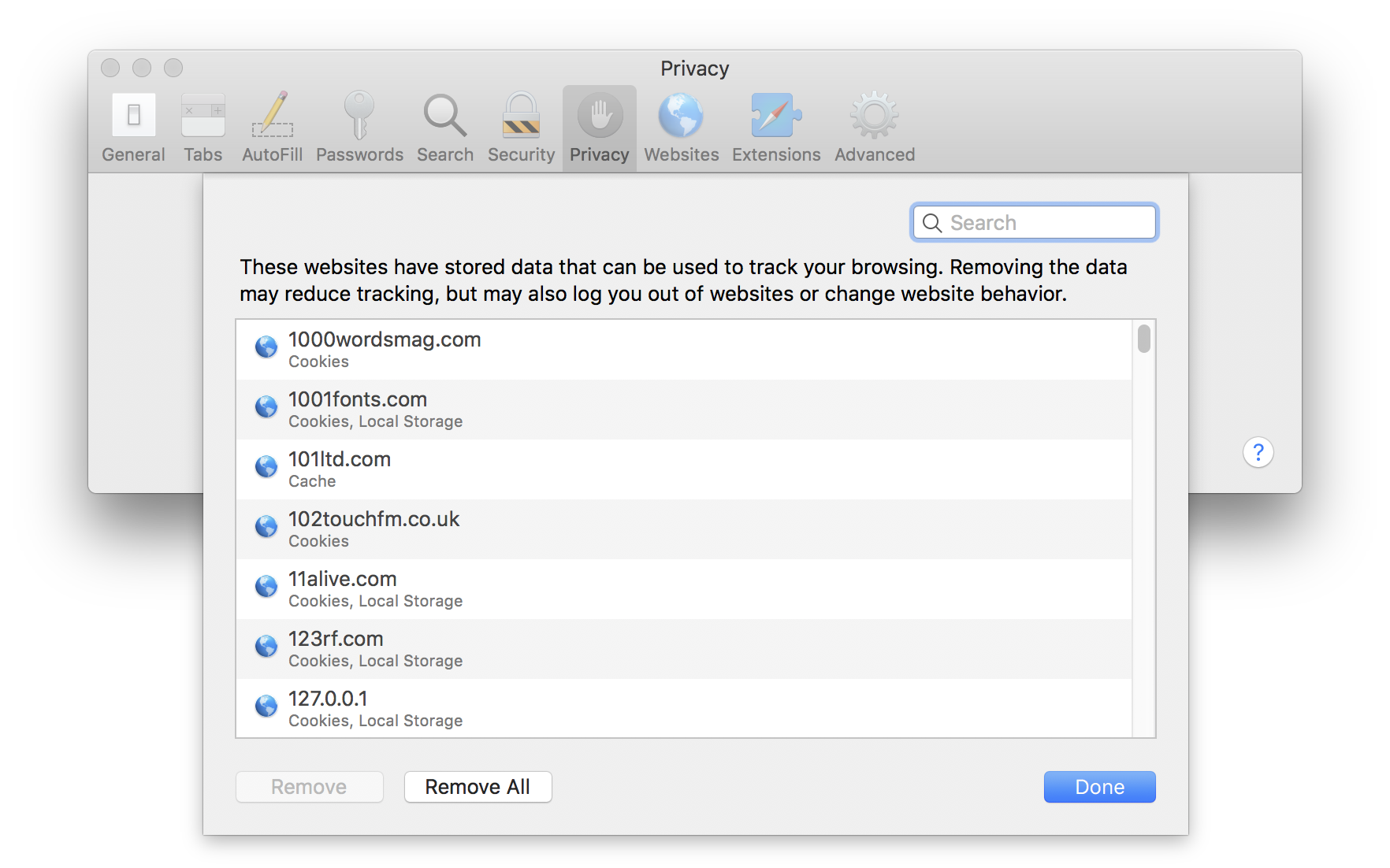 manage cookies in Safari browser