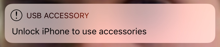 USB Accessory Lock Screen