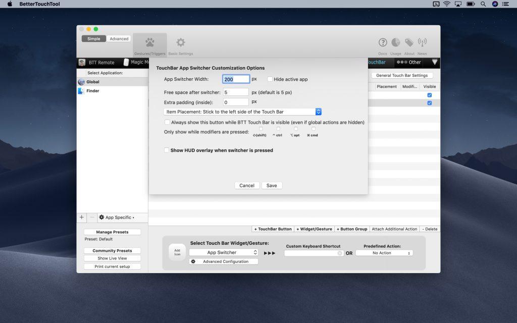 TouchBar App Switcher Customization Options