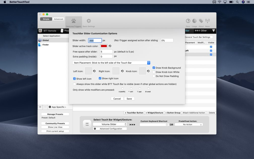 TouchBar Slider Customization Options