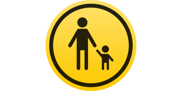 Apple parental controls icon, iOS and macOS, yellow