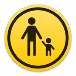 Apple parental controls icon, iOS and macOS, yellow, square