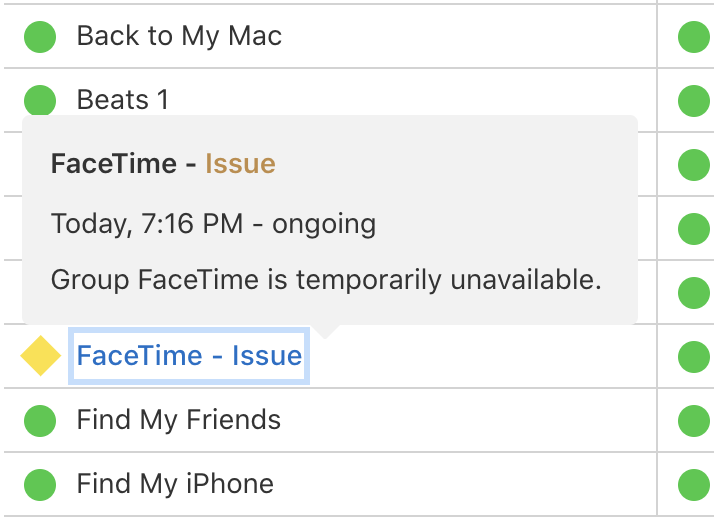 Group FaceTime is temporarily unavailable - Apple System Status page