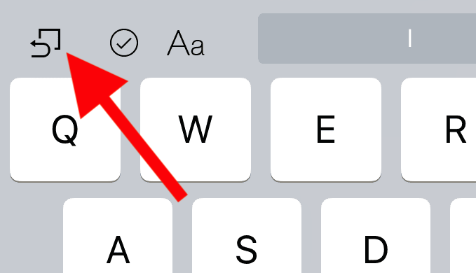iOS 12 iPad keyboard Undo button icon