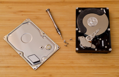 Dismantled hard disk drive