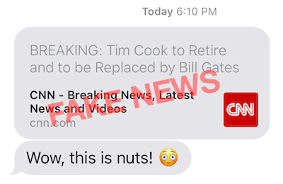 iOS Safari iMessage bug fake headline example