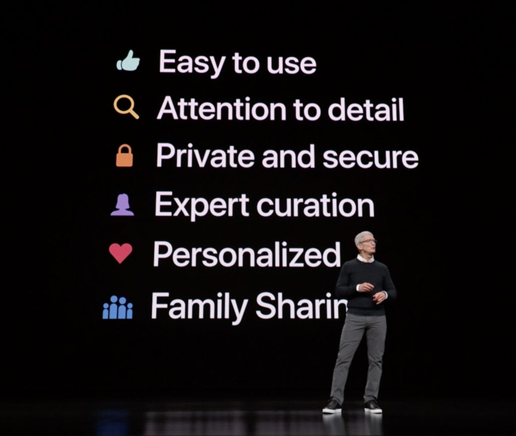 Apple CEO Tim Cook presents the six key features of Apple services at the March 25, 2019 Apple Event.