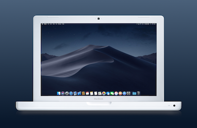 macOS Mojave on an old, unsupported, white Apple MacBook 2009