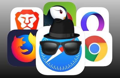 iOS private browsers: Apple Safari, Mozilla Firefox, Google Chrome, Brave, Opera, and Puffin