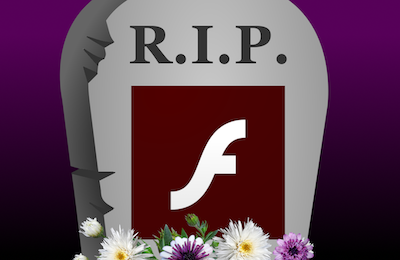 R.I.P. Adobe Flash Player gravestone
