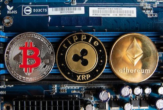 Cryptocurrencies on computer parts, by Marco Vech, modified (CC BY 2.0), https://foto.wuestenigel.com/cryptocurrencies-on-a-computer-parts/