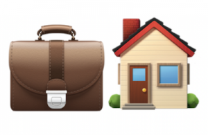Working from home: Apple emojis depicting a briefcase and a house.