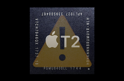 Apple Mac T2 security chip with yellow warning sign exclamation emoji