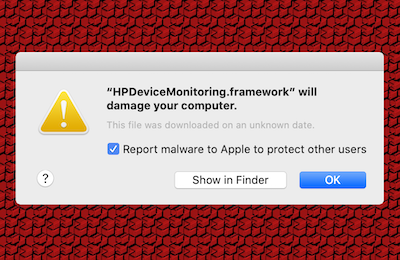 HPDeviceMonitoring.framework will damage your computer - Mac dialog box