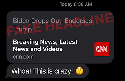 Election 2020 Safari iOS Fake Headline Exploit Demonstration