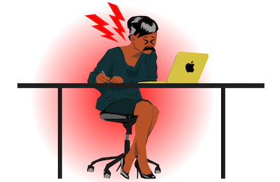 woman sitting at computer with painful bad posture - ergonomics how-to -- expression via `Tired face Egg Head Emoji` CC-BY Christian Mohr, DE, https://thenounproject.com/mom-digital/collection/egg-head-emojis/?i=1616903