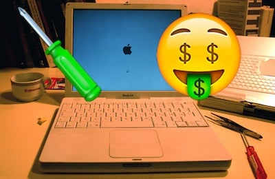 Mac repairs are expensive - based on Vicki is Alive! by Salvatore Barbera, CC BY-SA