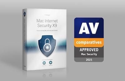Intego Mac Internet Security X9 and VirusBarrier X9 - AV-Comparatives approved Mac security award 2021