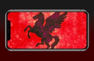 NSO Group Pegasus Spyware on iPhone, iOS (phone by R. Fernandez, Pegasus by N. Raymond)